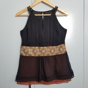 WHBM Black embroidered tank top size XS